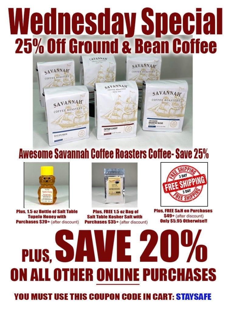Wednesday Special - 25% Off Savannah Coffee Roasters Coffee